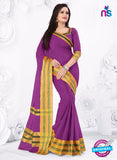 SC 13381 Purple and Golden Fashionable Traditional Cotton Handloom Saree