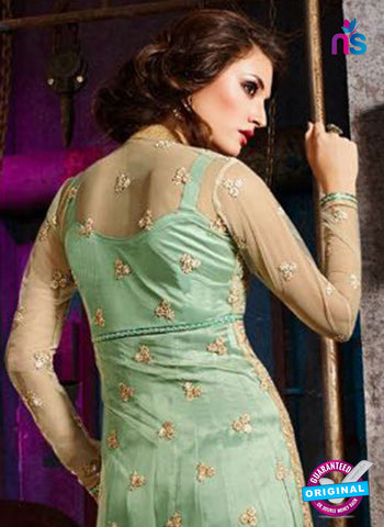 AZ 3411 Green Silky Net Embroidered Function Wear Suit