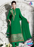 NS 12411 Green Party Wear Embroidered Georgette Long Straight Suit
