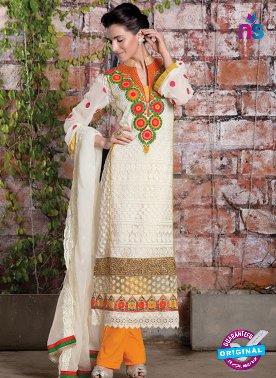 NS 12410 White and Yellow Party Wear Embroidered Georgette Long Straight Suit