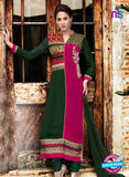 NS 12408 Green and Magenta Party Wear Embroidered Georgette Long Straight Suit