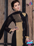 NS 12407 Black and Golden Party Wear Embroidered Georgette Long Straight Suit
