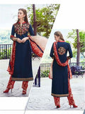 NS11746  Blue and Red Party Wear Cotton Straight Suit