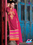NS 12409 Red and Magenta Party Wear Embroidered Georgette Long Straight Suit