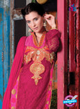 NS 12409 Red and Magenta Party Wear Embroidered Georgette Long Straight Suit Online