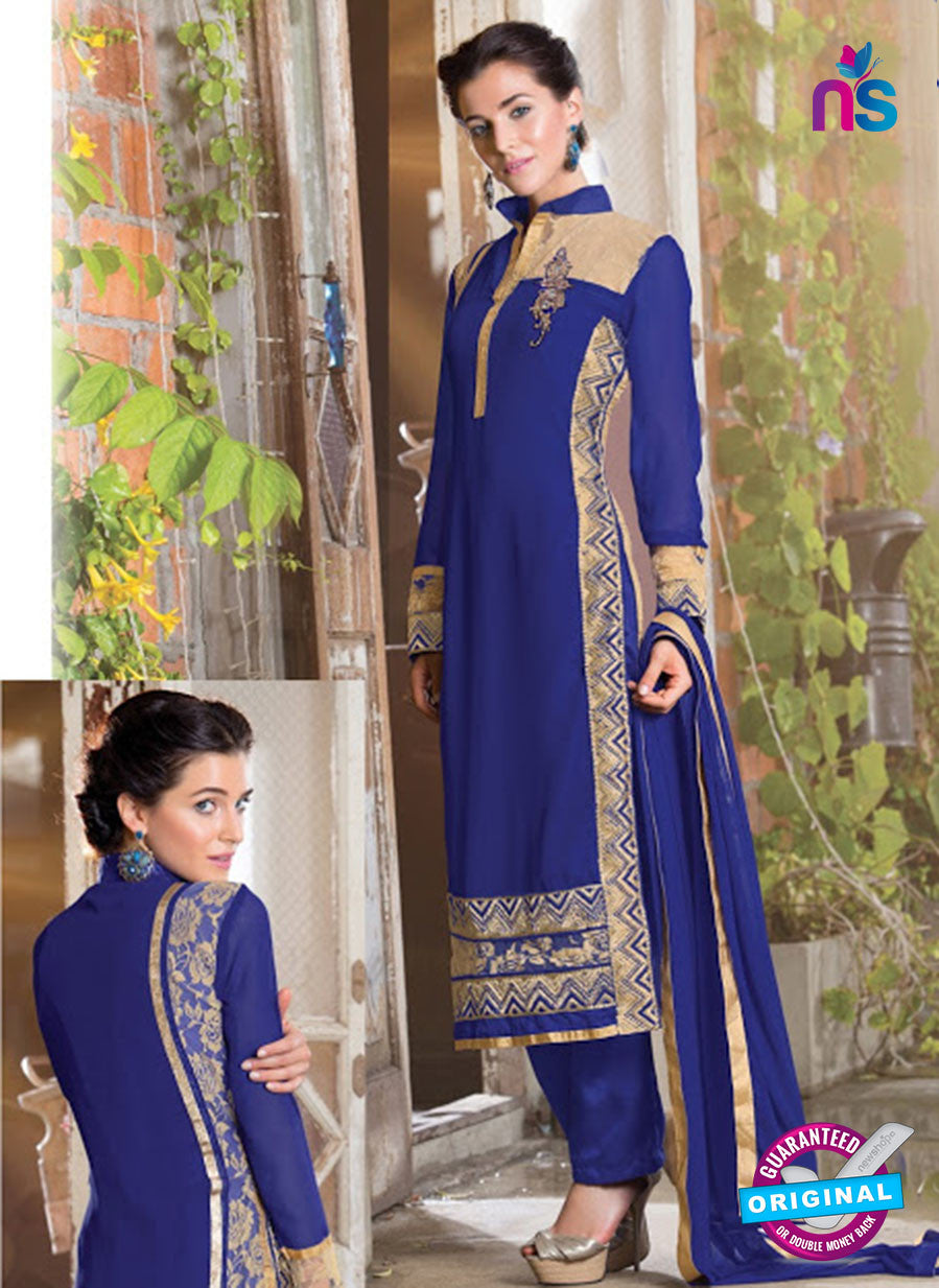 NS 12406 Blue Party Wear Embroidered Georgette Long Straight Suit