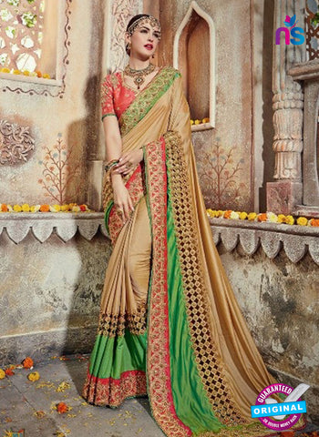 AZ 4094 Beige Georgette Wedding Saree