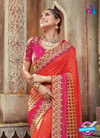 AZ 4095 Orange Georgette Wedding Saree