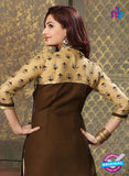 NS11225 SandyBrown and Brown Pure Cotton Long Straight Suit