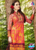 SC 13246 Red and Yellow Printed Pure Lawn Straight Pakistani Suit