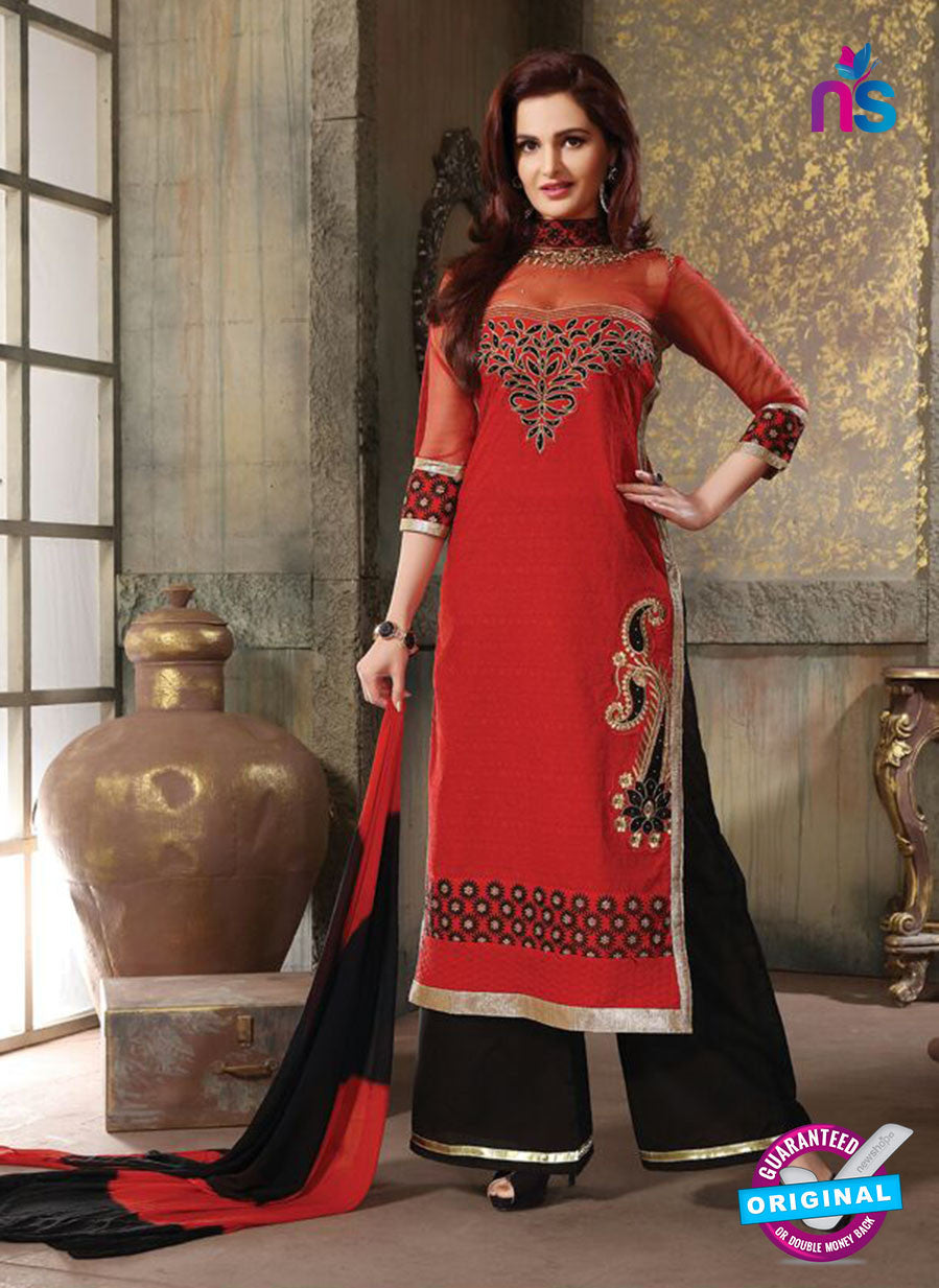 NS11226 Red and Black Pure Cotton Long Straight Suit