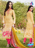 SC 13244 Yellow and Pink Printed Pure Lawn Straight Pakistani Suit
