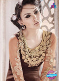 SC 14010 Brown Georgette Exclusive Function Wear Designer Straight Chudidhar Suit