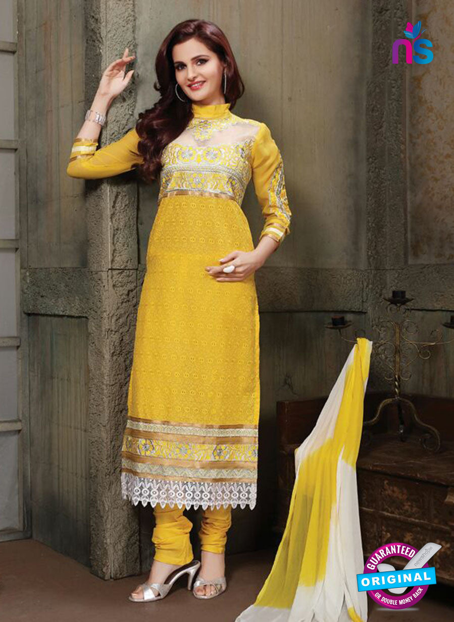 NS11227 Yellow and White Pure Cotton Long Straight Suit