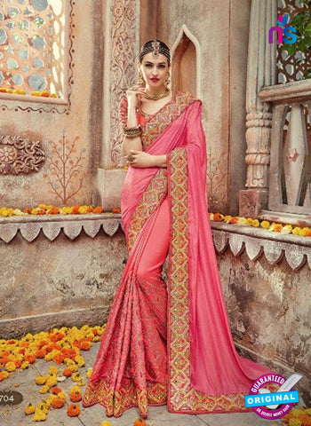 AZ 4097 Pink Georgette Wedding Saree