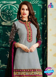 SC 12405 Grey and Black Embroidered Pure Cotton Patiala Suit
