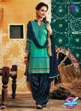 SC 12406 SeaGreen and Blue Embroidered Pure Cotton Patiala Suit
