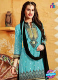 SC 12412 SkyBlue and Black Embroidered Pure Cotton Patiala Suit