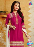 SC 12409 Magenta and White Embroidered Pure Cotton Patiala Suit