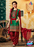 SC 12402 Red and Green Embroidered Pure Cotton Patiala Suit