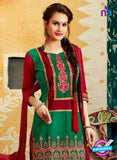 SC 12402 Maroon and Green Embroidered Pure Cotton Patiala Suit