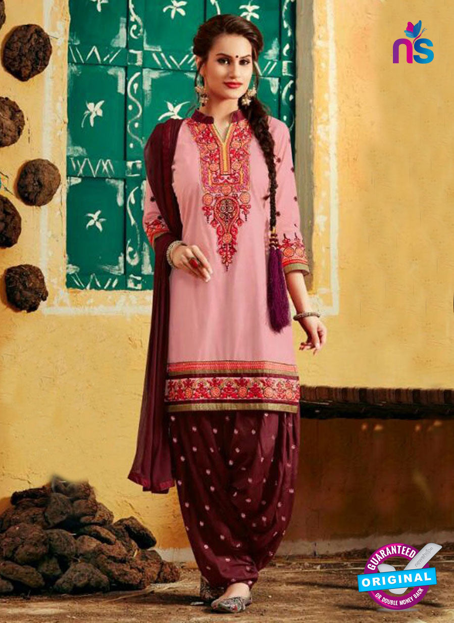 SC 12407 Pink and Brown Embroidered Pure Cotton Patiala Suit