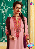 SC 12407 Pink and Maroon Embroidered Pure Cotton Patiala Suit