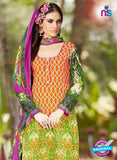 SC 13240 Orange and Green Printed Pure Lawn Straight Pakistani Suit