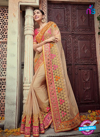 AZ 4098 Beige Georgette Wedding Saree
