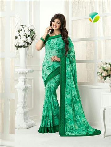 Vinay Fashion Star Walk  16989  Green Party Wear Georgette Saree