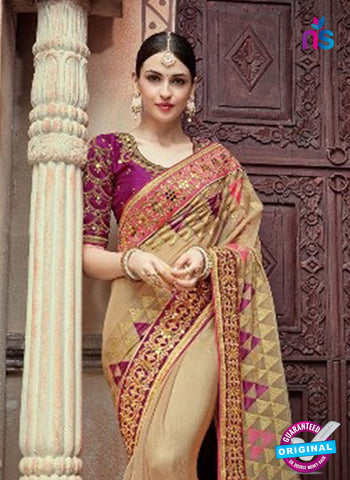 AZ 4099 Beige Georgette Wedding Saree