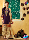 SC 12411 Purple and Beige Embroidered Pure Cotton Patiala Suit