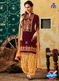 SC 12403 Brown and Yellow Embroidered Pure Cotton Patiala Suit