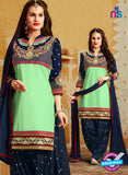 SC 12404 Green and Blue Embroidered Pure Cotton Patiala Suit