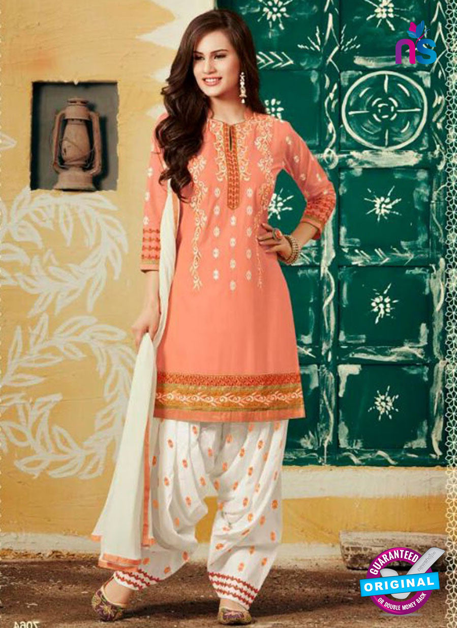 SC 12410 Peach and White Embroidered Pure Cotton Patiala Suit