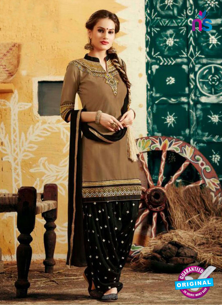 SC 12408 Brown and Black Embroidered Pure Cotton Patiala Suit