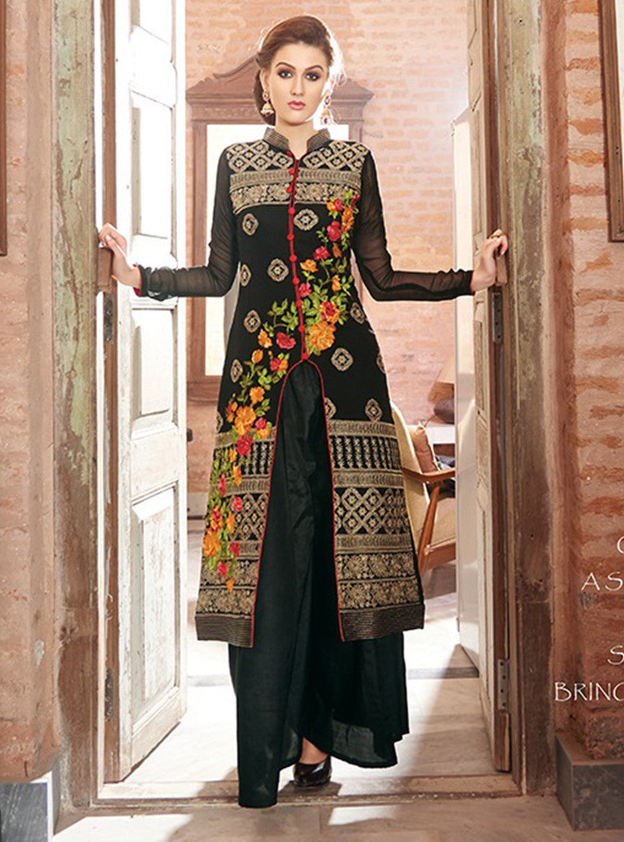 NS10104  Black Color Cotton Satin Designer Suit