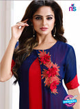LT 707 Red and Blue Georgette Party Wear Tunic Online
