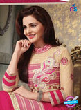 NS11229 DeepPink and Beige Pure Cotton Long Straight Suit