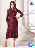 LT 707 Maroon Chanderi Party Wear Kurti