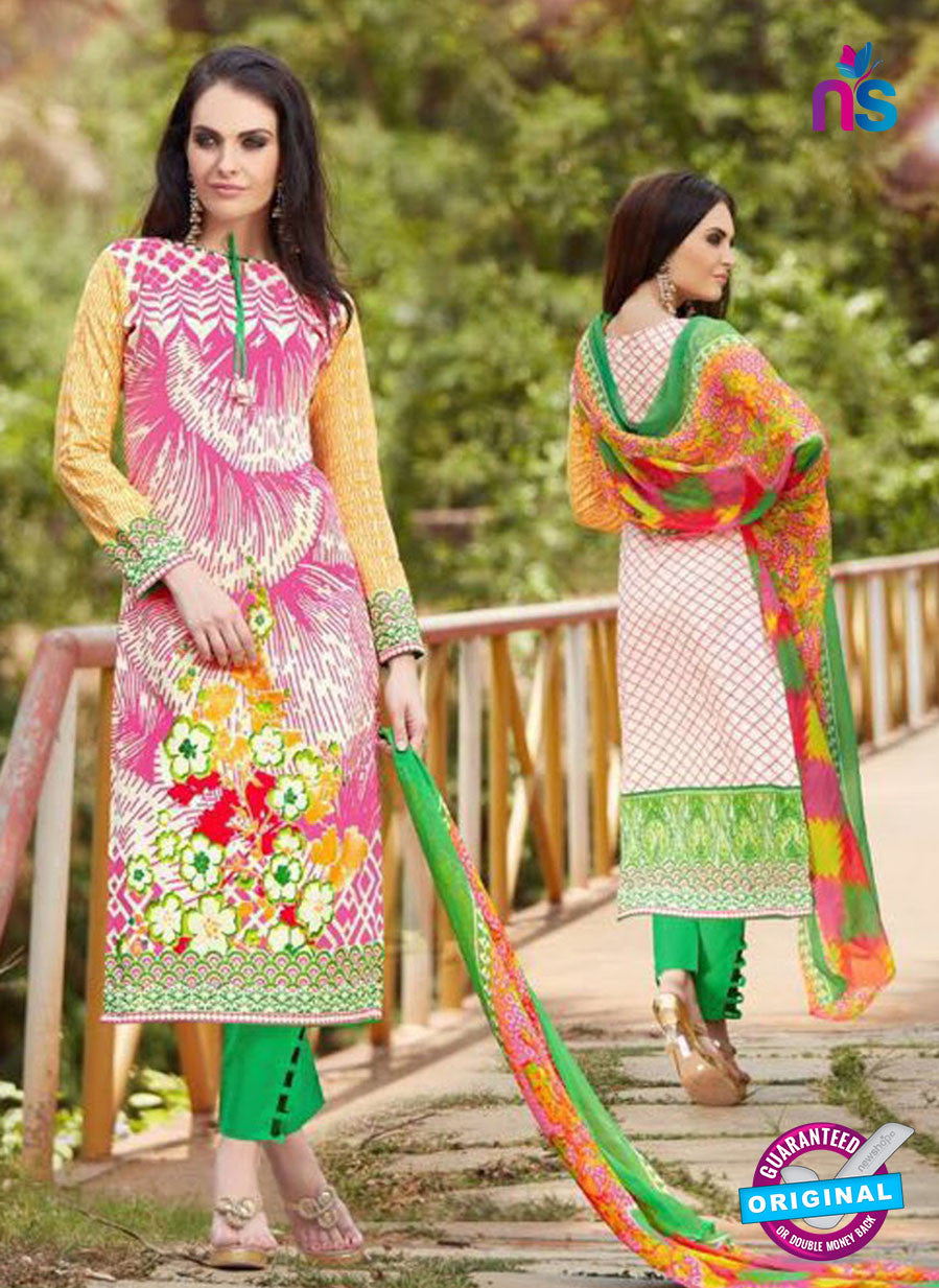 SC 13242 Pink and Green Printed Pure Lawn Straight Pakistani Suit