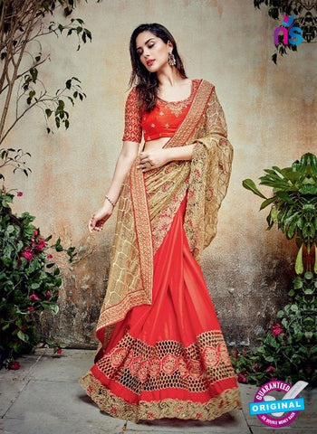 AZ 5001 Peach Georgette Wedding Saree