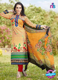 SC 13243 Orange and Red Printed Pure Lawn Straight Pakistani Suit