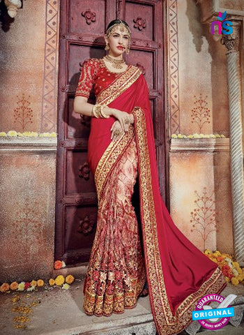 AZ 5002 Maroon Net Wedding Saree