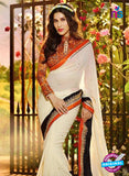 SC 12332 Orange and Beige Wedding Wear Georgette Saree