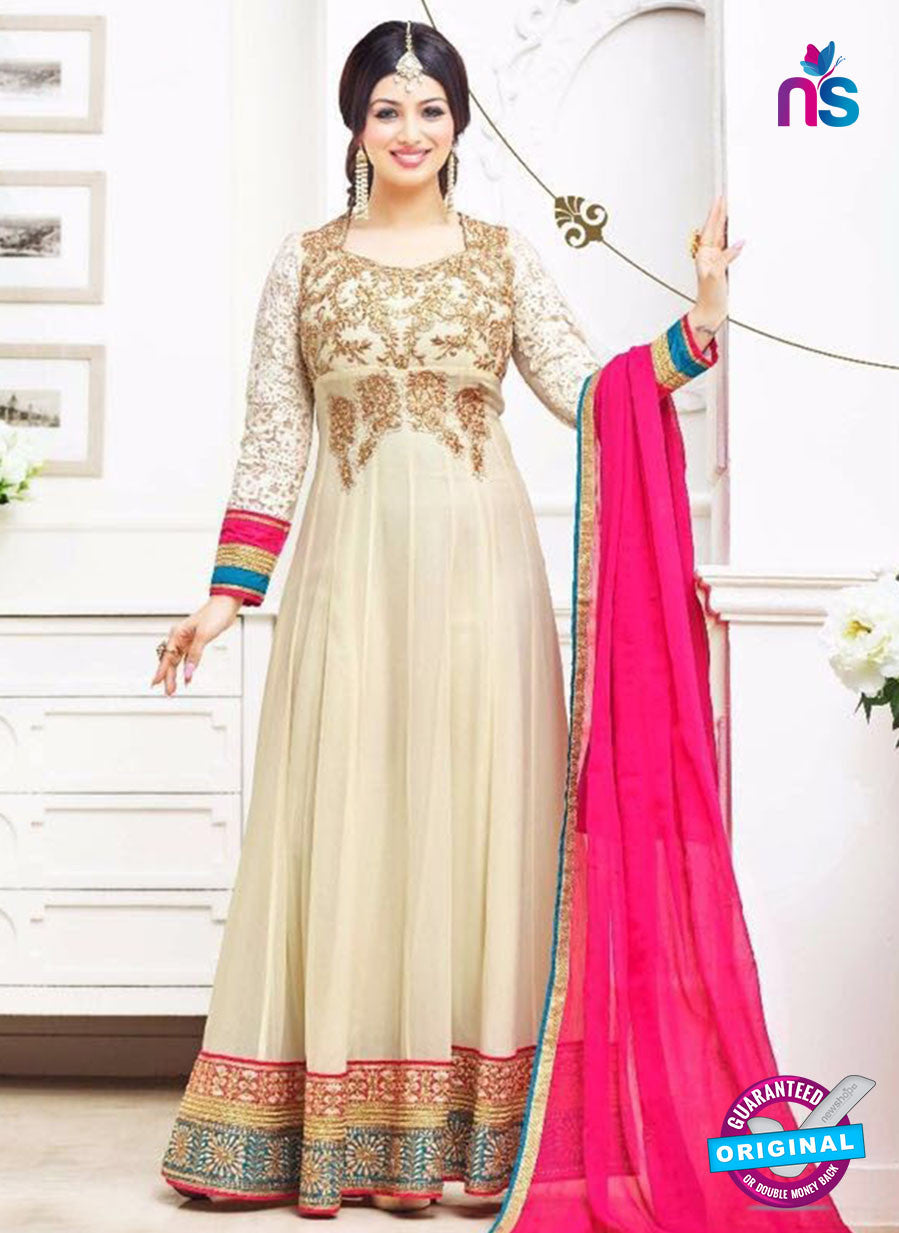 SC 12632 Beige and Pink Georgette Party Wear Gawn