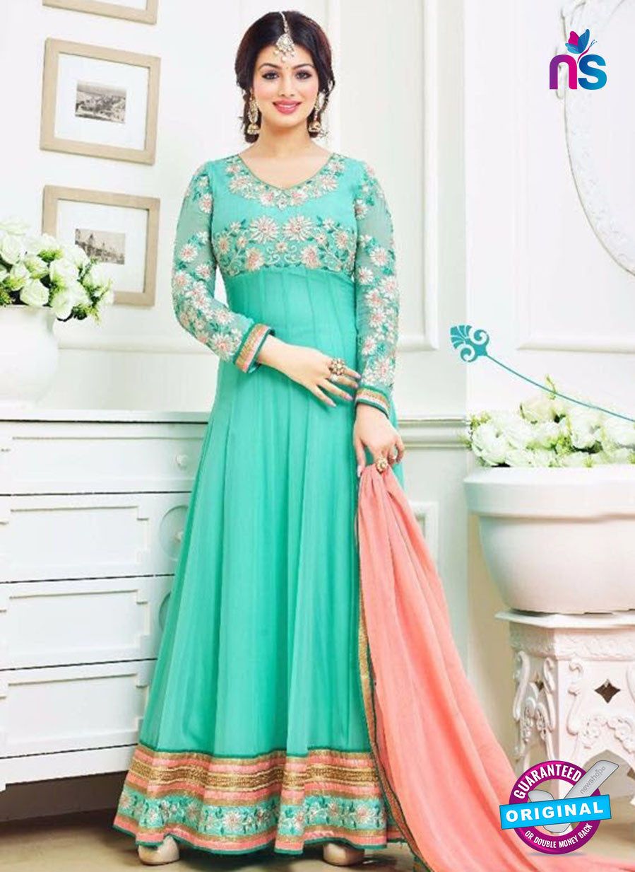 SC 12627 Green and Peach Georgette Party Wear Gawn