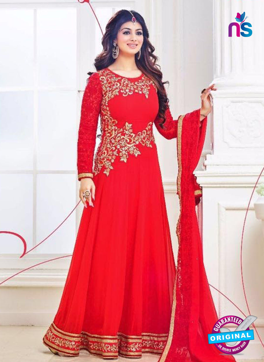 SC 12625 Red and Golden Georgette Party Wear Gawn