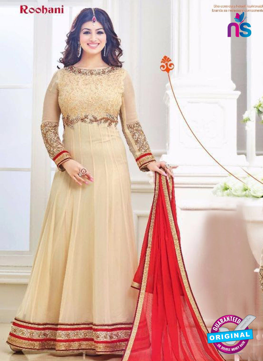 SC 12630 Beige and Red Georgette Party Wear Gawn