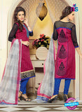 NS11001 Dark Pink and Royal Blue Designer Chanderi Straight Suit